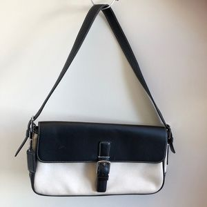 Coach Black and Tan Leather and Canvas Clutch